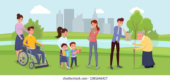 Social inclusion, handicapped people illustration. Young volunteers assisting retired person, rescuing domestic animals. Female nurse spending time in park with man in wheelchair, children