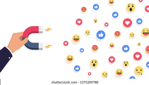 Social influencer concept. Media content to grab like from social audience. Vector Design.
