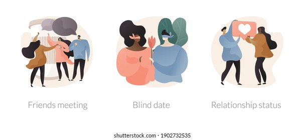 Social interactions abstract concept vector illustration set. Friends meeting, blind date, relationship status, leisure time, speed dating, first impression, soul mate, together abstract metaphor.