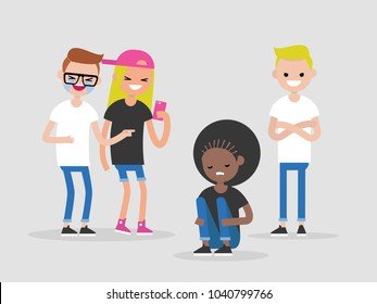 Social intolerance. Racism. Bullying. A group of young people mocking a black girl. Hate concept. Flat editable vector illustration, clip art