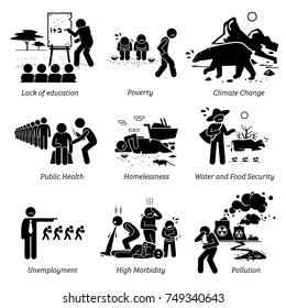 Social Issues and Critical Problems Pictogram Icons. Illustrations depicts lack of education, poverty, climate change, public health, water and food security, jobless, high morbidity, and pollution.