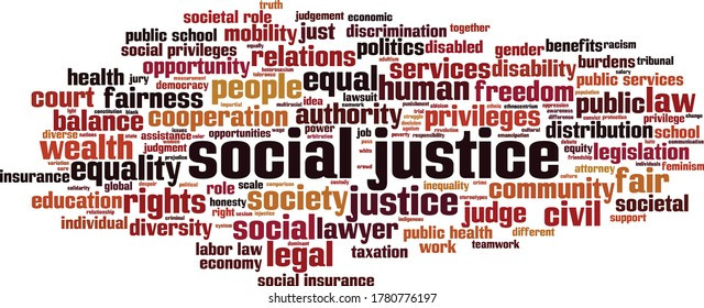 Social justice word cloud concept. Collage made of words about social justice. Vector illustration