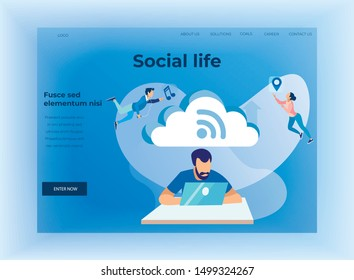 Social Life and Cloud Storage Text Design Landing Page. Cartoon Man Networking on Laptop via Wi-Fi Internet. Guy Sorting and Analyzing Information in CCS. Metaphor Vector Flat Illustration