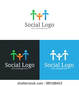 Social logo design. Two adults and one child holding hands. Stick figures family vector illustration.