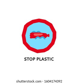 Social logo on the theme of ecology and pollution of nature. Stop plastic logo. Plastic pollution symbol. A stop sign in the garbage