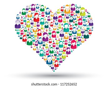 Social love: A heart made of icons to express love people in social media