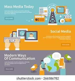 Social mass media banner horizontal set communication elements isolated vector illustration