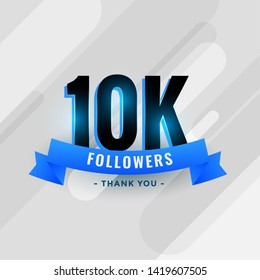 social media 10k followers or 10000 subscribers thank you banner