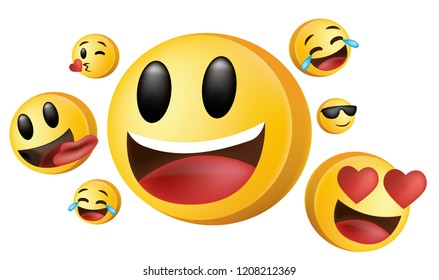 Social media 3D emoji sticker with different expression love laugh kiss cry smile