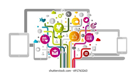 Social media abstract concept with internet icons over electronics background