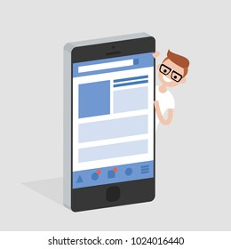 Social media account. Isometric mobile device. Young smiling character peeking out from behind the smartphone. Flat editable vector illustration, clip art