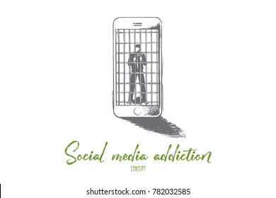 Social media addiction concept. Hand drawn person in jail of internet. Man slave of his smartphone isolated vector illustration.