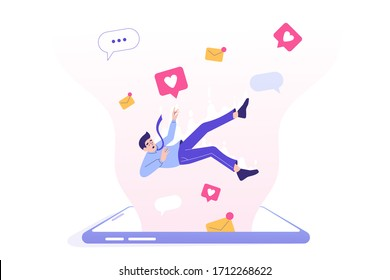 Social media addiction. Sad business man falling into screen of huge smartphone. Comment. Share. Follow. Speech Bubble. Chatting. Social media influence. Modern isolated vector illustration