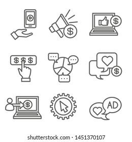 Symbol für Social Media-Anzeigen Set mit Videowerbung, Benutzerbindung usw.