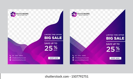 Social Media Advertising Banner Layouts Set With Gradient Wave Elements. Collection Of Bright Vector Background. Summer Sale Square Pack. photo collage. gradient blue and purple colors.