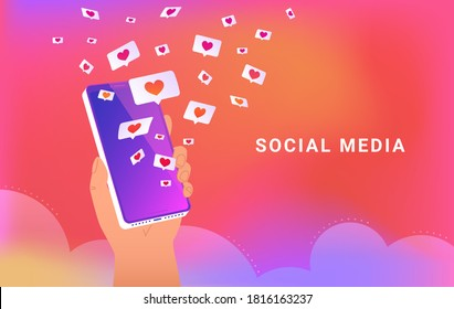 Social media app with speech bubbles and hearts. Human hand holds smartphone and loading many hearts of social media and dating app. Vector illustration of speech bubbles on bright gradient background