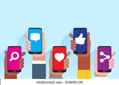Social media applications. Mobile applications concept. Multi skin color hands raising smartphone. Vector flat illustration