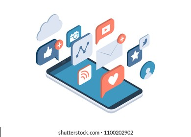 Social media apps on a smartphone: online sharing, messaging and marketing on social networks concept