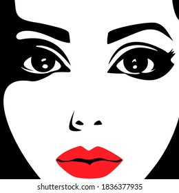 Social media avatar. The female face is a black and white drawing with red lips.