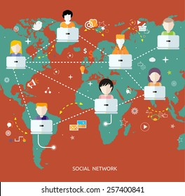 Social media avatar network connection concept. People in a social network. Concept for social network in flat design. Globe with many different peoples faces with laptops