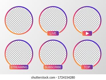 Social media avatar set. User icon, stories, LIVE video, streaming. Colorful gradient. Logo, symbol, sign. Vector illustration.