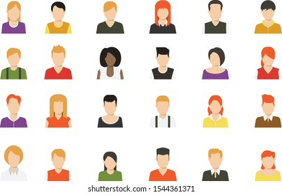 Social media avatar vector graphics flat icons. Set of hand drawn Avatar profile icon (or portrait icon), including male and female . User flat avatar icon, sign, profile people symbol.
