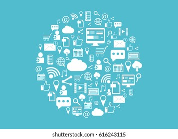 Social media background. A circle  with various internet icons on a light blue background. Abstract background