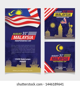 Social Media Background Independence Day Malaysia With Big Flag