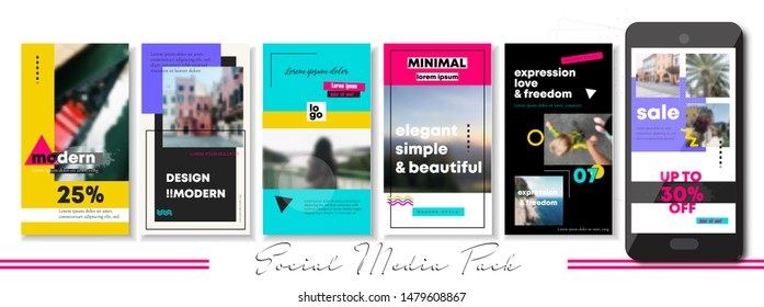 social media banner. Bright cover. Endless puzzle layout for promotion. Design backgrounds web pack. Style 90s 80s. Mockup for personal blog, brand or shop. Set of stories and post frame. Vector
