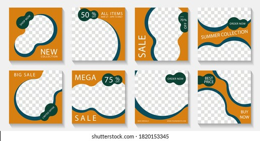 Social media banner post templates design with photo frames and sale text. Marketing announcement mockups abstract vector set. Sale promo banners with discount and new arrival offers.