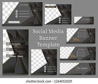 Social media banner template in black and gold. With copy space and image space