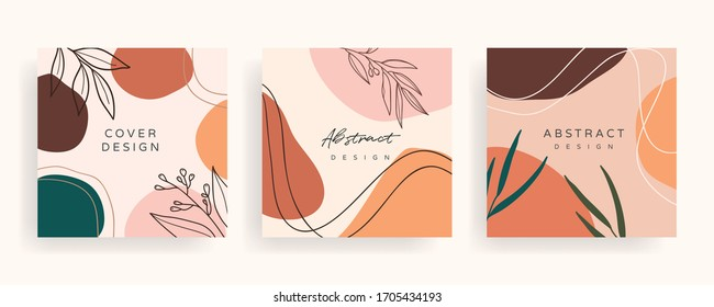 Social media banner template. Editable mockup for stories, post, blog, sale and  promotion. Abstract earth tone coloured shapes, line arts background design for personal, fashion and beauty blogger.