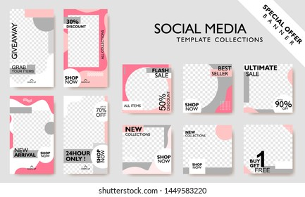 Social media banner template for promotion. Special offer layout frame for story and poster. Editable mockup for mobile apps with modern abstract shape. Discount promo background