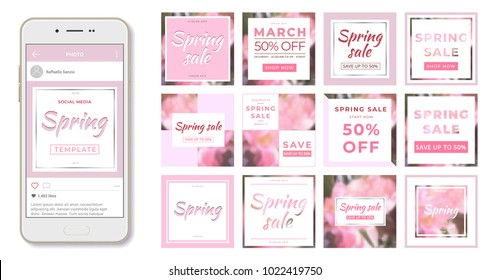 Social media banner template. Spring sale. Use it to advertise in social networks to promote your product. Minimalistic abstract design.