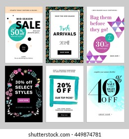 Social media banner templates bundle. Vector illustrations for website and mobile website banners, posters, email and newsletter designs, ads, coupons, promotional material.