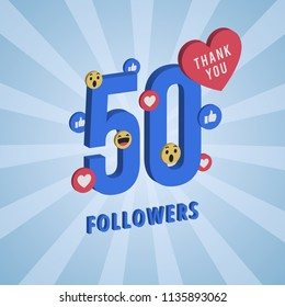 Social media banner with thank you for 50 followers. Blue card with 3D Thank you celebrate all subscribers or followers with simple post.
