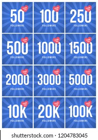 Social media banner with thank you for 50–100K followers. Blue card with Thank you celebrate all subscribers or followers with simple post.