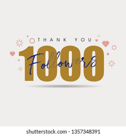 Social media banner with thank you for 1000 followers. Greeting card for social networks with flat style color. Vector illustration