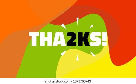 Social media banner with thanks 2K followers achievement. Thank you for 2000 thousand subscribers decoration post template. Greeting card for social networks. Vector illustration colored background