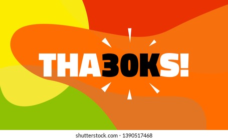 Social media banner with thanks 30K followers achievement. Thank you for 30000 thousand subscribers decoration post template. Greeting card for social networks. Vector illustration colored background