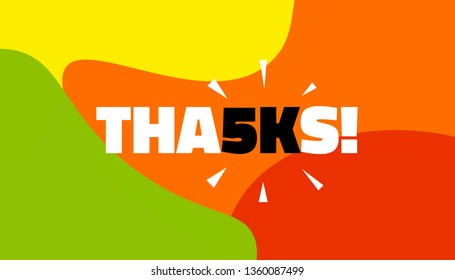 Social media banner with thanks 5K followers achievement. Thank you for 5000 thousand subscribers decoration post template. Greeting card for social networks. Vector illustration colored background