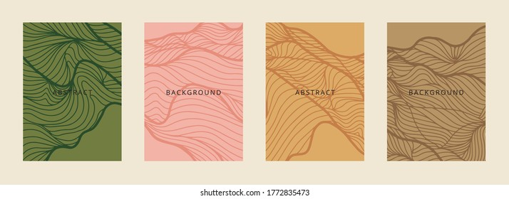 Social media banners, a beautiful line-art set of social media post templates with minimal abstract organic shapes, can be used also card, cover, Vector illustration.