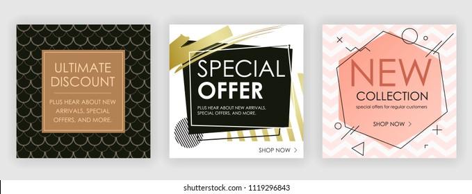 Social media banners, foil elements,social media kit template. Vector