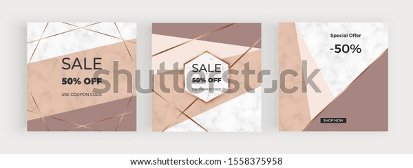 Social media banners with geometric design with nude, brown triangular shapes, golden lines. Modern neutral template for flyer, poster, card