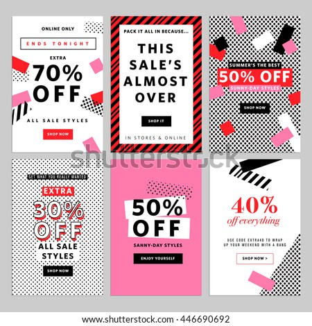 social media banners for online shopping vector illustrations for website and mobile website banners