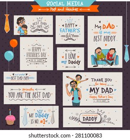 Social Media Banners and Post for the occasions of Happy Father's Day celebrations.