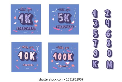 Social media banners set. 1k, 5k, 10k, 100k followers post and elements for blogging. 1000, 5000, 10000, 100000 subscribers thank you. Vector color illustration.