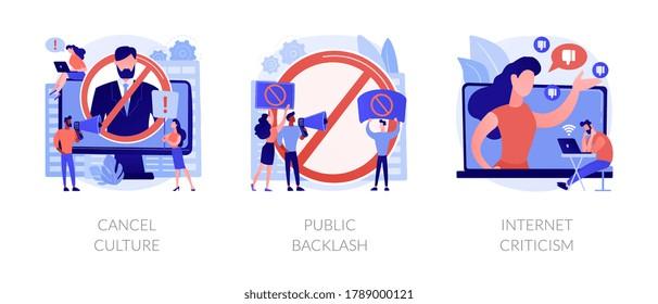 Social media behavior abstract concept vector illustration set. Cancel culture, public backlash, Internet criticism, group shaming, boycott, hate speech, bias and discrimination abstract metaphor.
