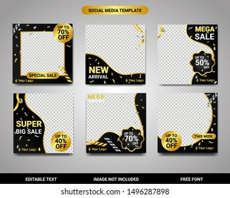 Social Media black and gold exclusive template layout