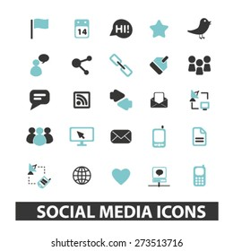 social media, blog, community isolated icons, signs, illustrations website, internet mobile design concept set, vector